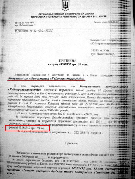 Державна інспекція з контролю за цінами оштрафувала Київтранспарксервіс